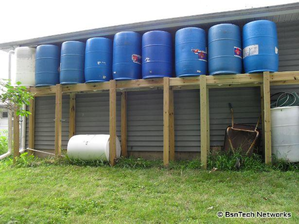 Nine 55 Gallon Drums for Rain Water Collection