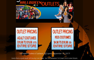 Website Design for Halloween Outlets of Jackson MS - BsnTech Networks
